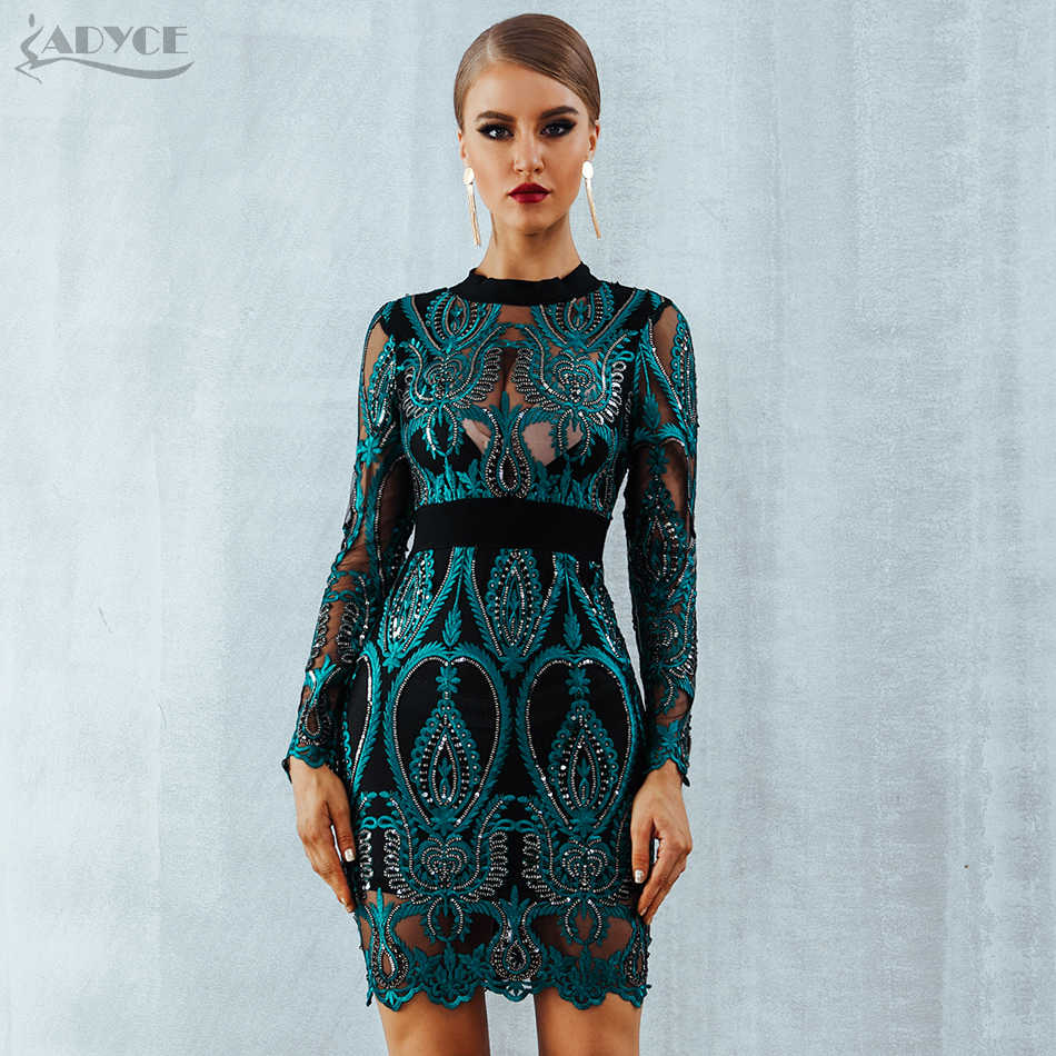 7a74d143e2 ADYCE Celebrity Party Sequin Dress Women 2018 New Long Sleeve Backless Sexy  Mesh Hollow Out Mini
