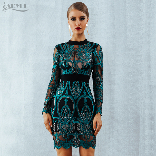 7fe5c77119d83 ADYCE Celebrity Party Sequin Dress Women 2018 New Long Sleeve Backless Sexy  Mesh Hollow Out Mini Luxurious Club Dresses Vestidos
