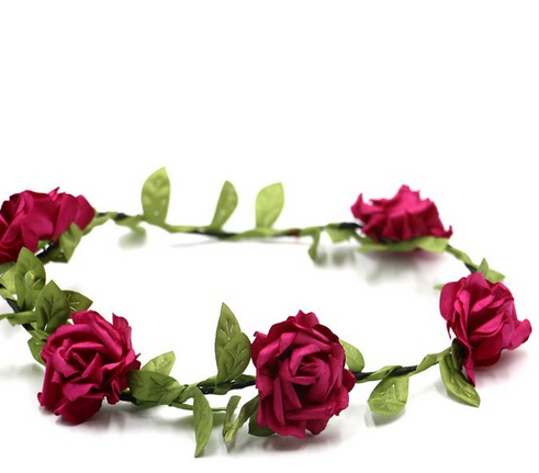 Handmade Rose Flower Headband Woman Girls Flower Headwear Wedding Party Bride Flower Crowns Hair Accessories