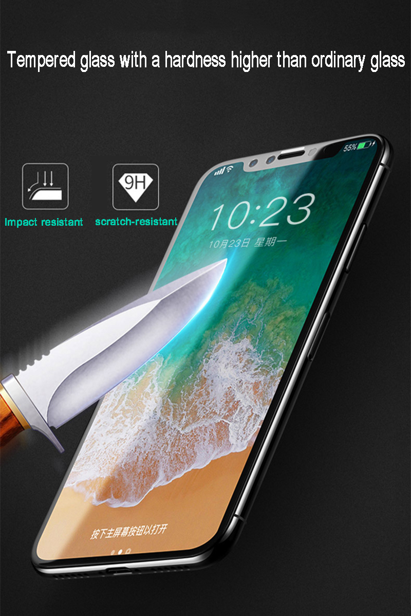 Tomkas 0.2MM Glass For iPhone X Screen Protector Tempered Glass Full Cover Screen Protectors For iPhone X 10 Glass               (10)