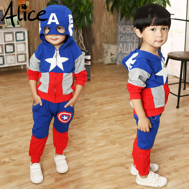 2017 New Arrival Boys Girls Clothes Suit pentacle star letter Captain America Zipper jacket + pants 2pcs/set Kids Set Children