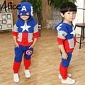 2017 Recién Llegado de Niñas Ropa Traje pentáculo estrella carta Capitán América Zipper jacket + pants 2 unids/set Kids Set niños