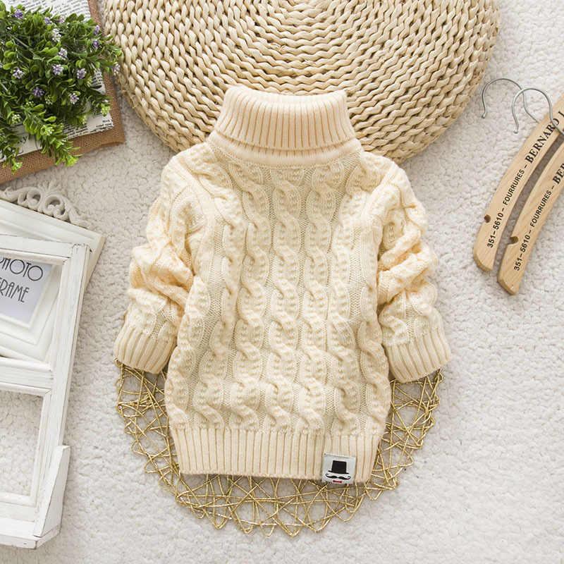 IENENS 키즈 소녀 스웨터 트리코트 터틀넥 풀오버 베이비 겨울 탑 솔리드 컬러 스웨터 가을 소년 소녀 따뜻한 스웨터 당겨