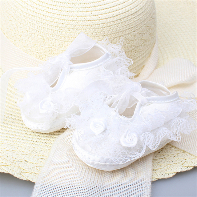 Newborn Baby Girl Shoes Princess Party Lace Floral Soft Sole Crib Shoes Anti-slip Sneaker Prewalker Toddler Kid 0-12M 3