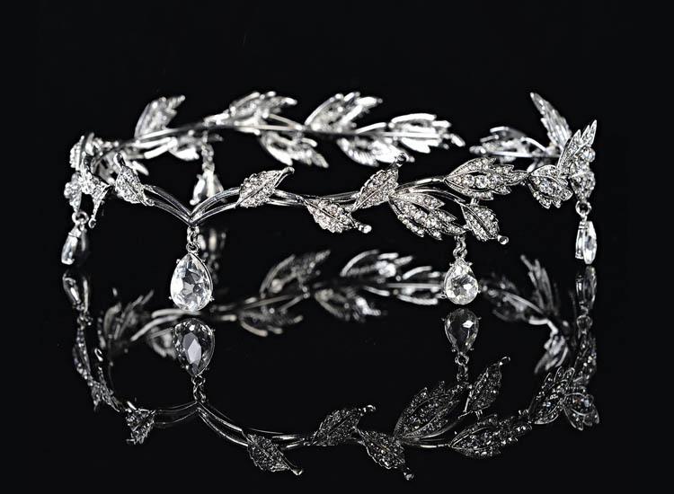 Remedios Elegant Leaf Design Wedding Crown Tiara Hair Jewelry Rhinestone Bridal Bridesmaid Headpiece Headband
