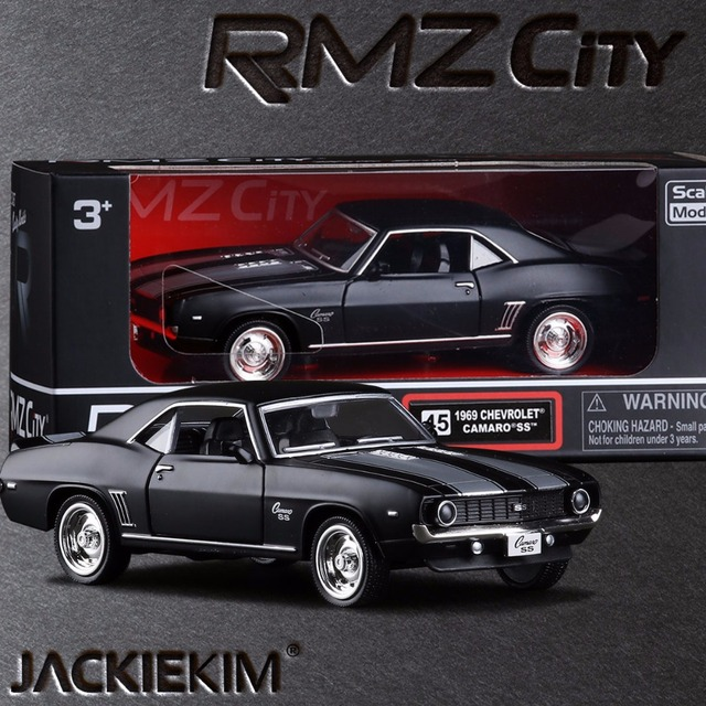 Brand New 1 36 Scale Usa 1969 Chevrolet Camaro Ss Vintage Matte Black Cast Metal