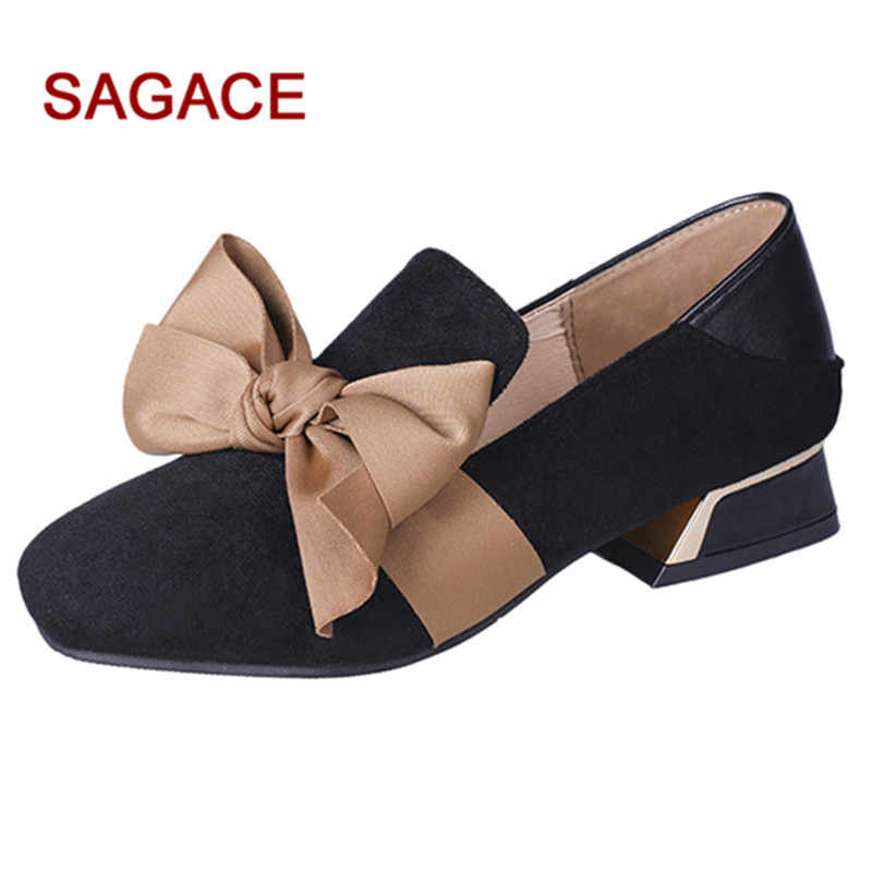 a04c1a99796 2019 SAGACE Ladies Pumps Women Square Toe Flock Shoes Shallow Square Heel  Slip-On Casual