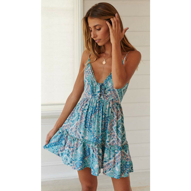 Women Boho Floral Dress...