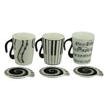 Taza de la música taza de Personal Señala Caneca Porcelana Taza De Café De Cerámica con La Cubierta Del Teclado de Piano del regalo Creativo