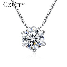 CZCITY Charm Shinning One Carat Six Claws Cubic Zirconia Classic 925 Sterling Silver Pendant Necklace for Women Chain Necklace