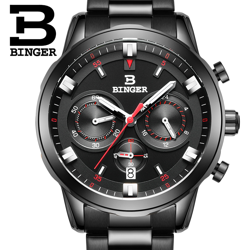2017 Switzerland luxury men's watch BINGER brand quartz clock full stainless Wristwatches Chronograph Diver glowwatch B9011-5 2017 switzerland luxury relogio masculino binger brand quartz full stainless wristwatches chronograph diver clock b9011 2
