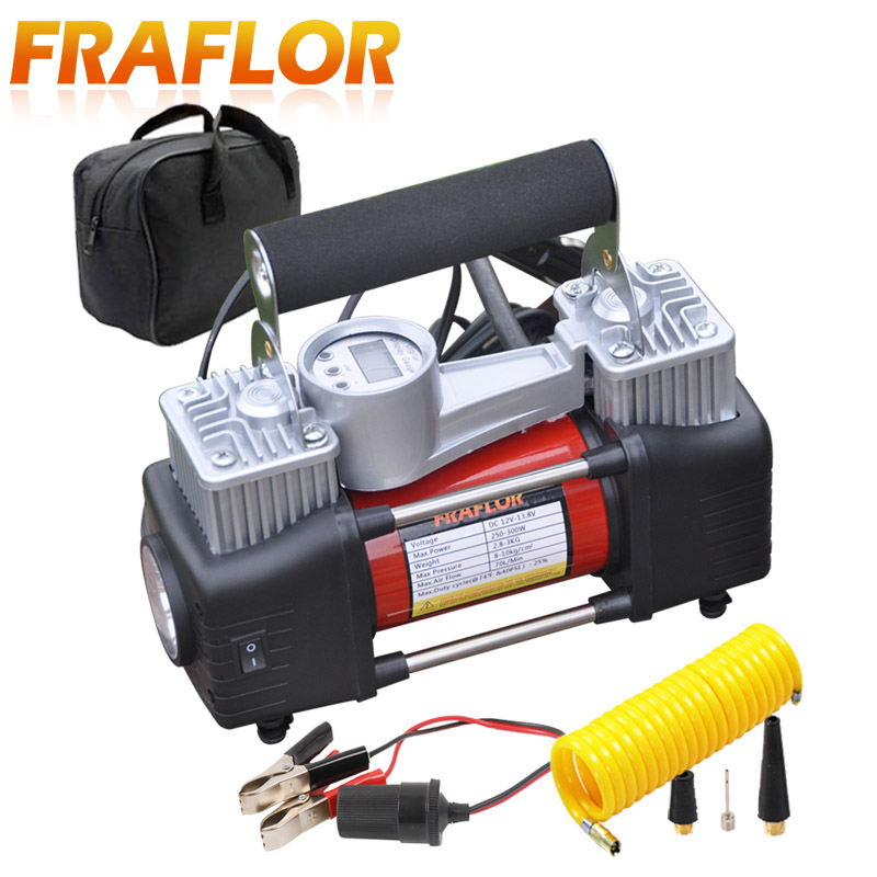 Image 3 - Car Tire Tyre Inflator Portable Metal Vehicle Auto Electric Pump Air Compressor Double Cylinder Digital Air Compressor-in Inflatable Pump from Automobiles & Motorcycles