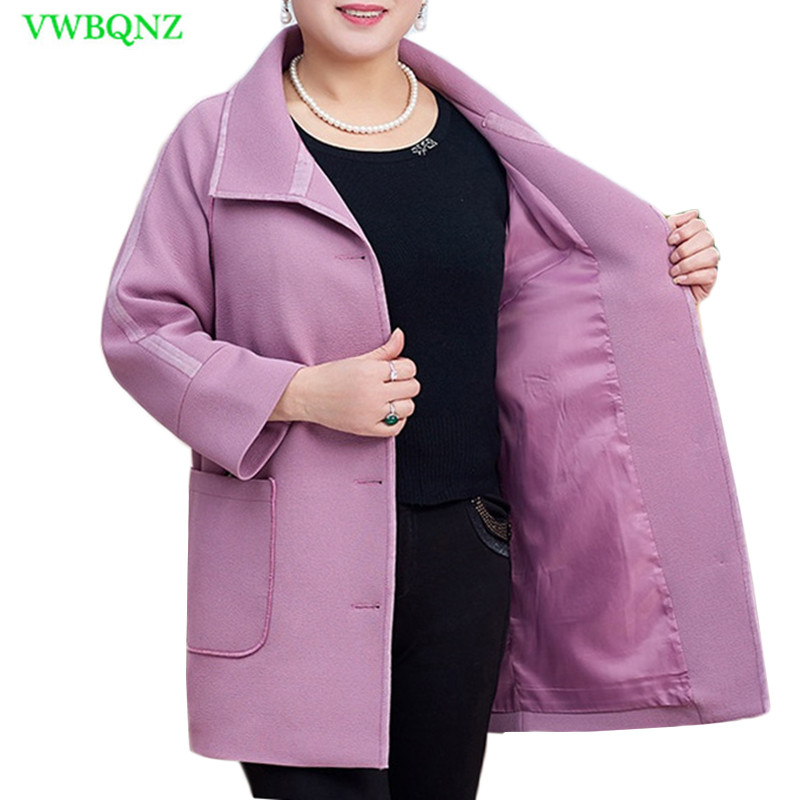 New Women Windbreaker Coat Autumn Winter Long Sleeve   Trench   Coat Female Loose Plus size Purple Cardigan Casual Outwear 8XL A775
