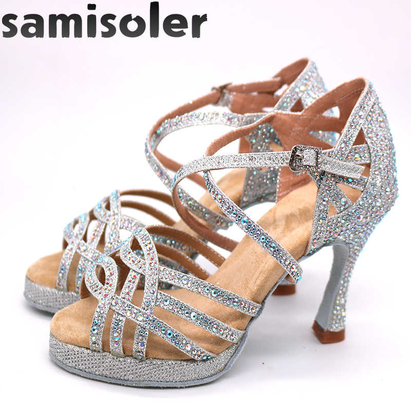 أحذية الرقص اللاتينية مع منصة أحذية الجاز قاعة الرقص أحذية الفتيات حجر الراين عالية الكعب بريق أحذية رقص السالسا