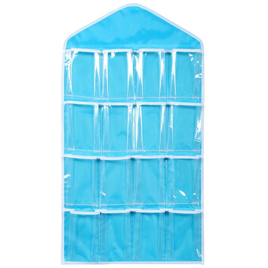 16 bolsillos Clear Hanging Bag Calcetines Bra Underwear Rack Hanger Organizador de almacenamiento JAN24