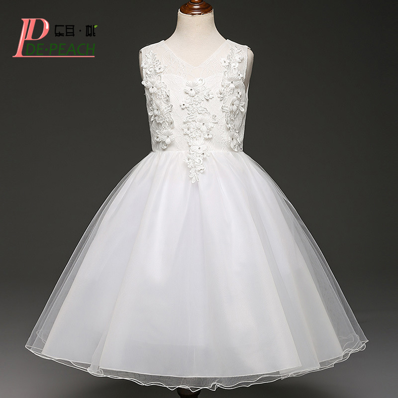 DE PEACH Flowers Lace Girls Dress Kids White Wedding Dress Princess Formal Party Dresses Girl Christmas Fashion Children Clothes