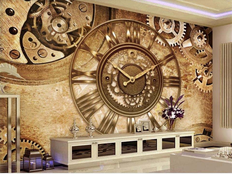 3d wallpaper photo wallpaper custom size living room mural retro gear clock 3d painting picture sofa TV background wall sticker vintage beautiful mahogany living room large mural wallpaper living room bedroom wallpaper painting tv background wall wallpaper