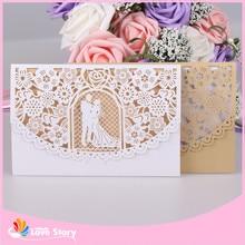 10sets/Lot 12x18cm Bride And Groom Laser Cut Invitations Card vintage Flower Invitation Anniversaire Wedding Party Supplies
