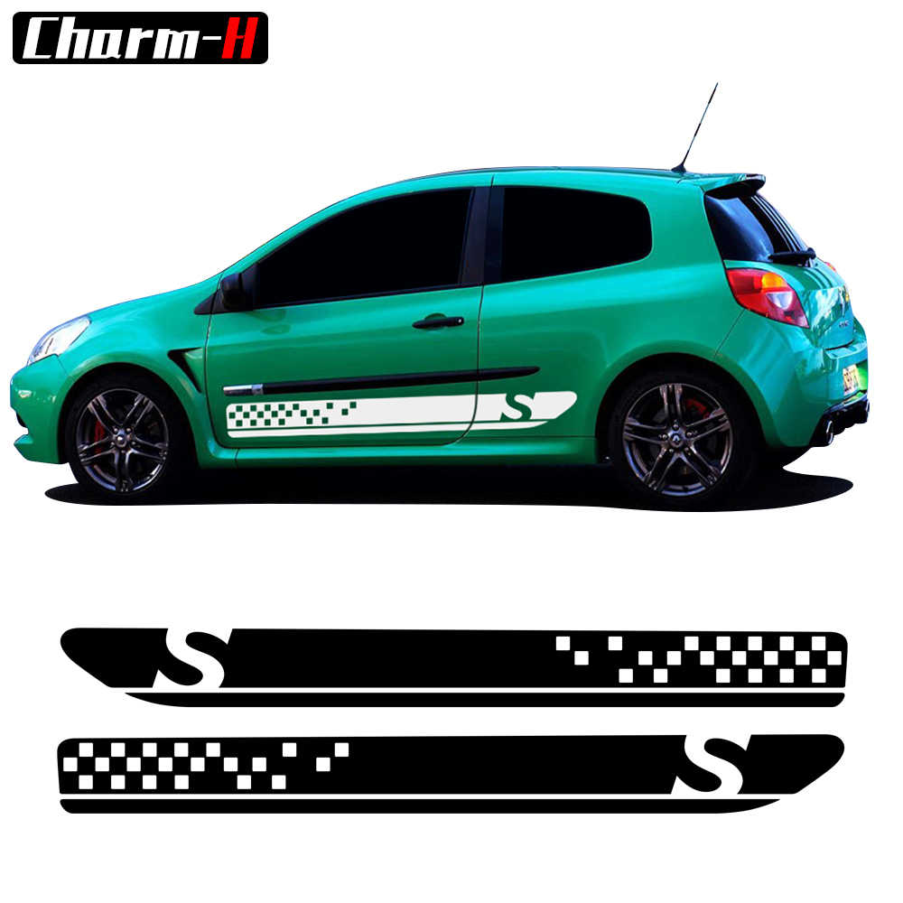 2pcs car styling side skirt racing sport stripes decals graphics for renault clio 3 sticker rs