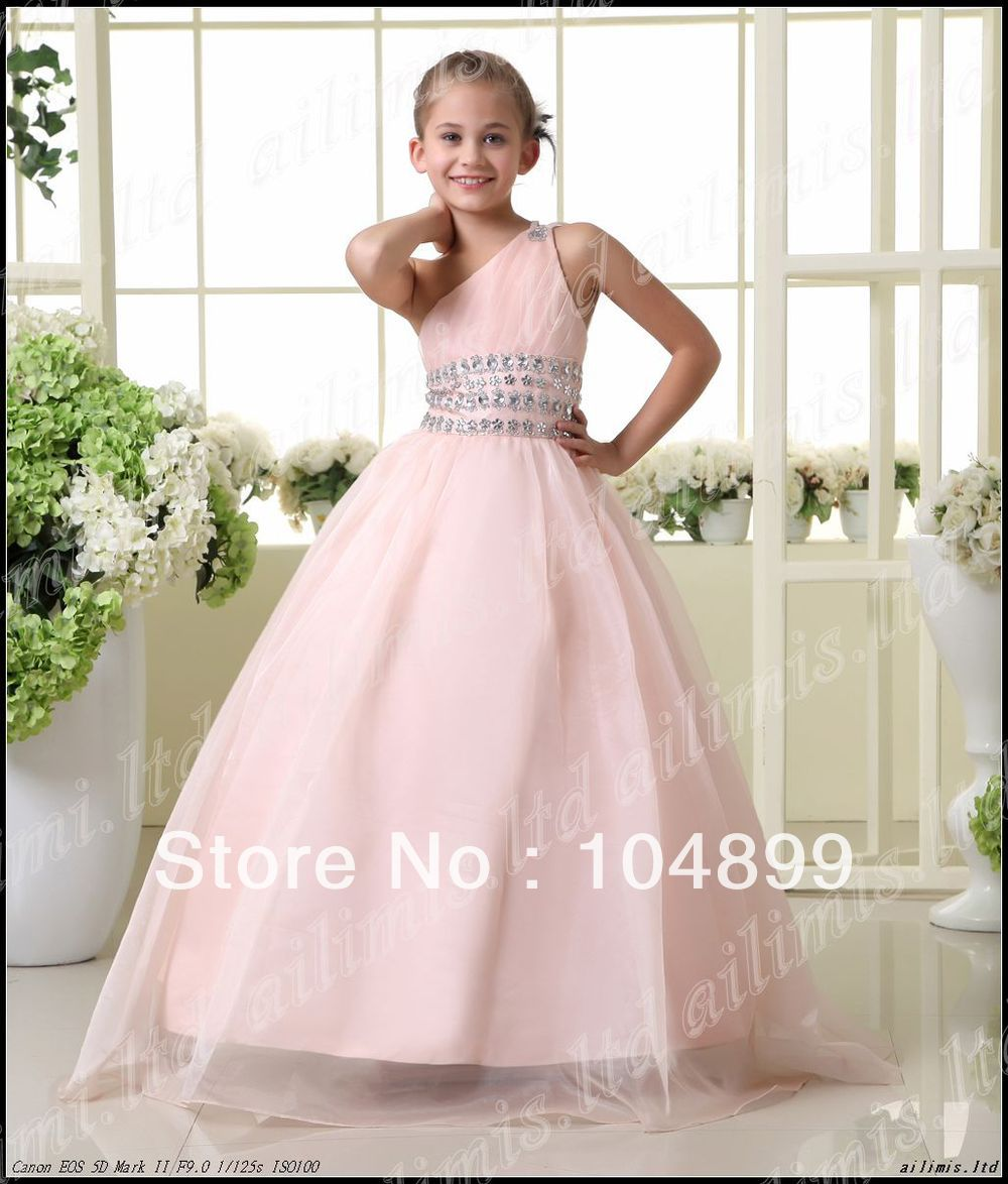 Wedding Dresses For Kids: 2013 Stylish Pink One Shoulder Style Girl Kids Pageant