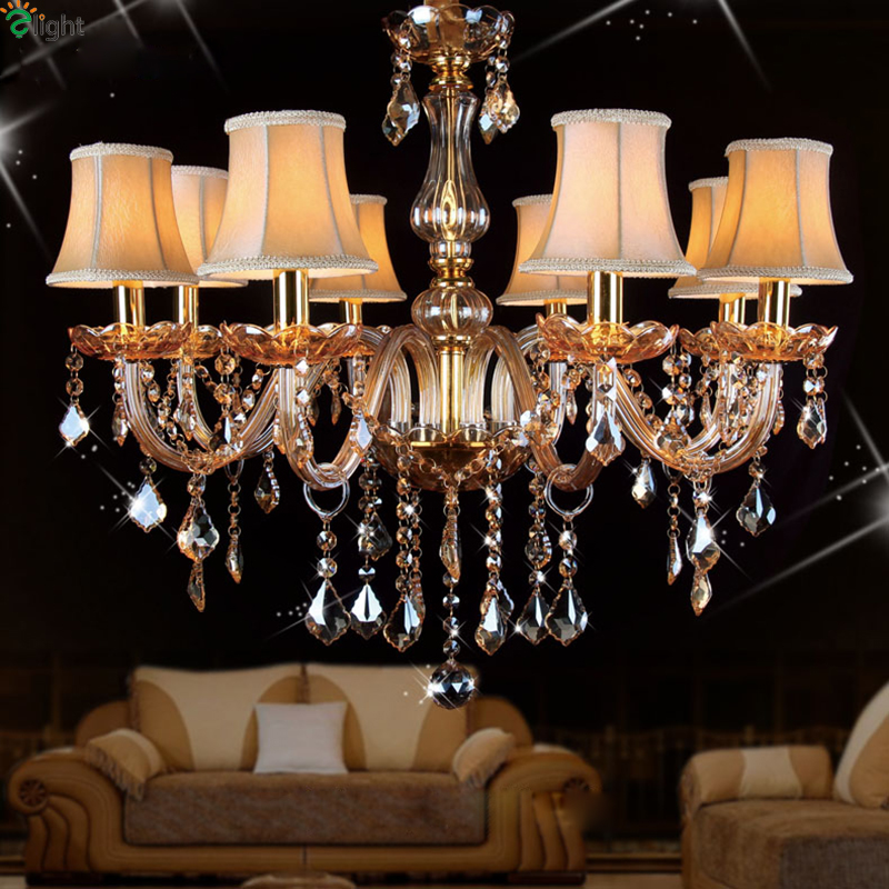 Europe Lustre Crystal Led Chandeliers Luminarias Amber Glass Dining Room Led Candle Chandelier Lighting Hanging Lights Lamparas hghomeart creative cartoon chandeliers led crystal chandelier kids room luminarias wrought iron lamp lustre suspension
