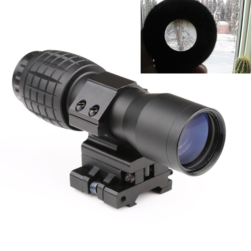 Hunting Optics 4X Magnifier Scope Magnifying Sight FTS Flip to Side for Airsoft Riflescope Hunting Shooting Target Practice