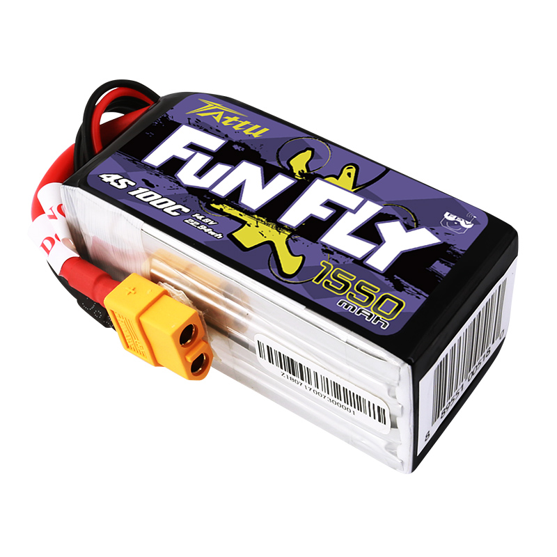 TATTU ACE FunFly 1550mAh 4S1P 14.8V 100C lipo battery fun fly flyfun 1550 mah for RC models FPV Drone (1)