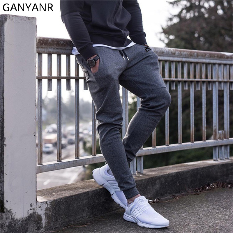 GANYANR Running Pants Men Sports Leggings Jogging Basketball Training Fitness Gym Athletic Football Sweatpants Elastic Workout