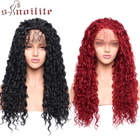 S noilite 26inch Lace Front Wig with Bangs Heat Resistant Synthetic Wigs Cosplay Lace Front wig Curly Wavy Full Head Wig Red