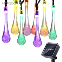 Solar String Lights 19 2Ft 30 Water Drop LED Led Fairy Lighting For Garden Decorations Fence