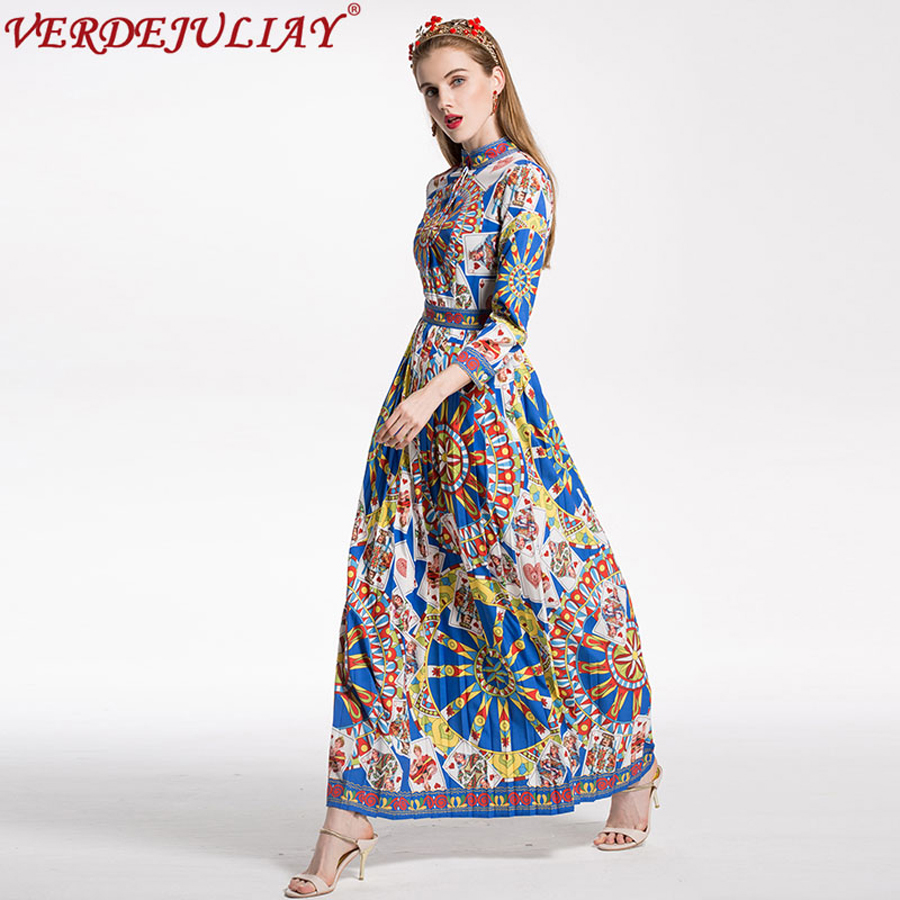 Women baroque style dresses 2018 fashion early spring flowers print women baroque style dresses 2018 fashion early spring flowers print 34 sleeve empire long popular runway pleated ethnic dress in dresses from womens mightylinksfo