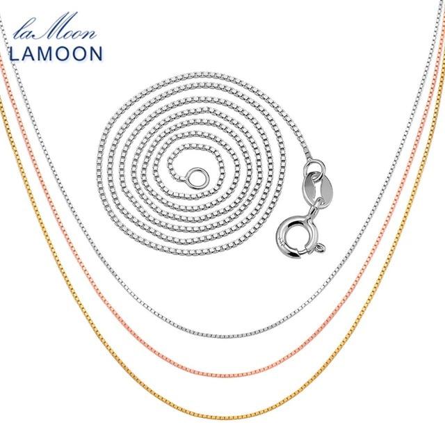 Lamoon Cổ Điển 40 cm 925 Sterling Silver Bạc Hộp Chuỗi Vòng Cổ cho Nam Giới và Phụ Nữ CI007