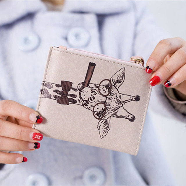 Naivety 2016 New Women Vintage Giraffe Pattern Short Wallet Purse Portable Clutch Monedero 11S60927 drop shipping 3