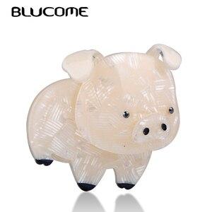 Женская/Детская Брошь Blucome, большая акриловая брошь в форме свиньи, в форме животного, со стразами, аксессуар для зимней одежды