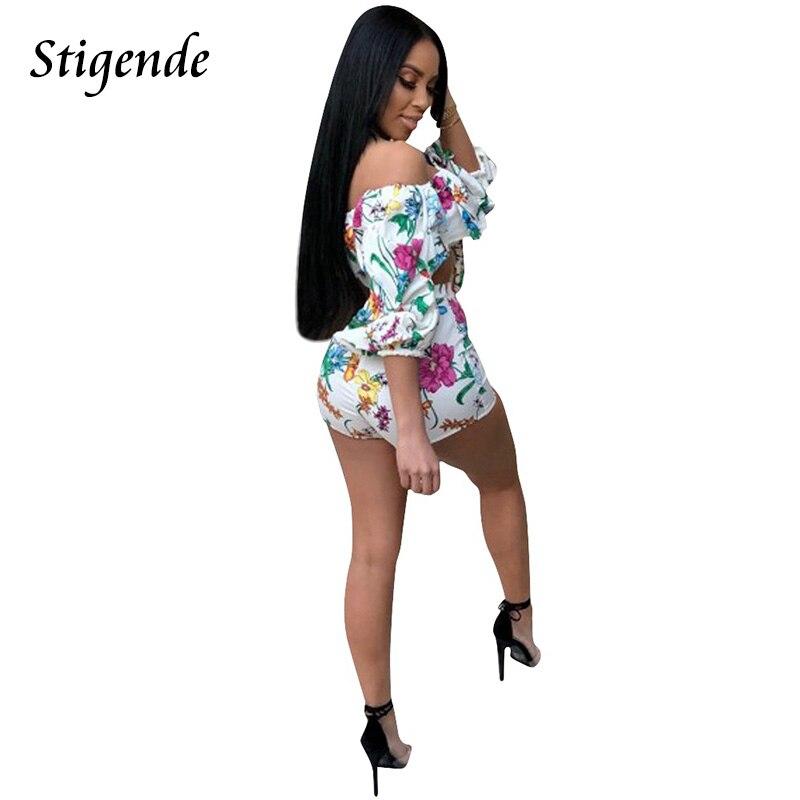 1ba9ed21bc6 Stigende Summer 2 Piece Set Floral Print Women Crop Top Shorts Set Half  Sleeve Off Shoulder Two Piece Conjuntos Mujer Dos Piezas-in Women s Sets  from ...