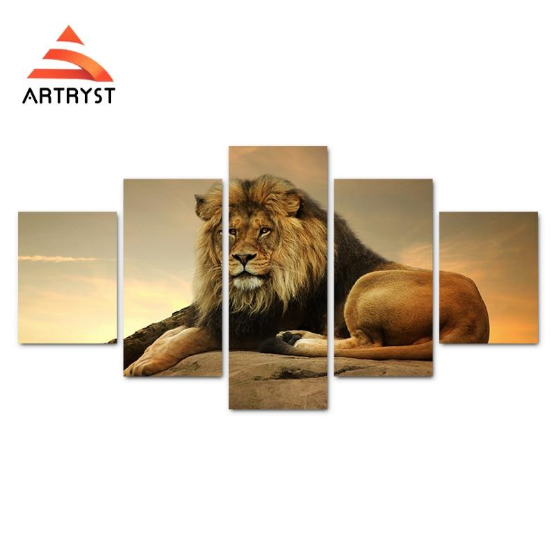 Modern home 5-panelowy modułowy obraz na płótnie król lew obraz - Wystrój domu - Zdjęcie 2