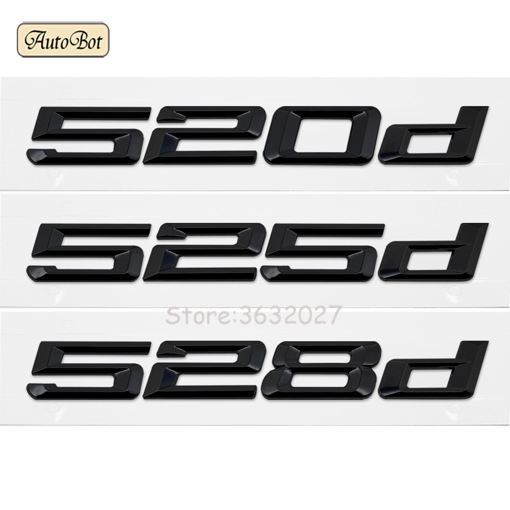 520d 525d 528d Car Refit Displacement Emblems Tail Decoration Sticker For BMW 5 Series F10 F11 F07 E12 E28 E34 E39 E60 E61 for bmw 5 series e12 e28 e34 e39 e60 e61 f10 f11 f07 523i 528i 525i chrome number letters rear trunk emblem badge sticker