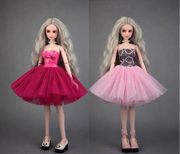 "New 1//8 Girl BJD SD Doll Wig Dollfie 5/"" DZ DOD LUTS  Tail Tiger Clip White Wig"