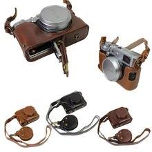 Do vintage de couro pu saco da câmera caixa da câmera para fujifilm fuji x100f x100f abrir projeto da bateria + strap + min bateria caso