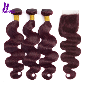 HairUGo Malaysian Body Wave Hair Bundles With Closure 99J Burgundy Ombre Human Hair Bundles With Closure Non Remy Hair Weaving 1