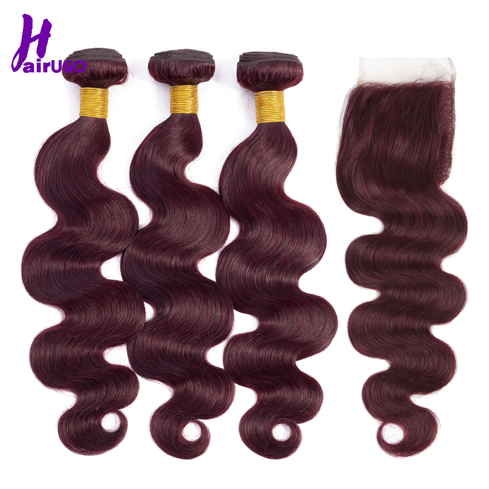 HairUGo Malaysian Body Wave Hair Bundles With Closure 99J Burgundy Ombre Human Hair Bundles With Closure Non Remy Hair Weaving
