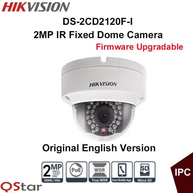 Hikvision Original English IP Camera DS-2CD2120F-I POE 2MP IR Fixed Dome Security Camera 30m Onvif mini 1080P CCTV Camera IP67 original hikvision 1080p waterproof bullet ip camera ds 2cd1021 i camera 2 megapixel cmos cctv ip security camera poe outdoor