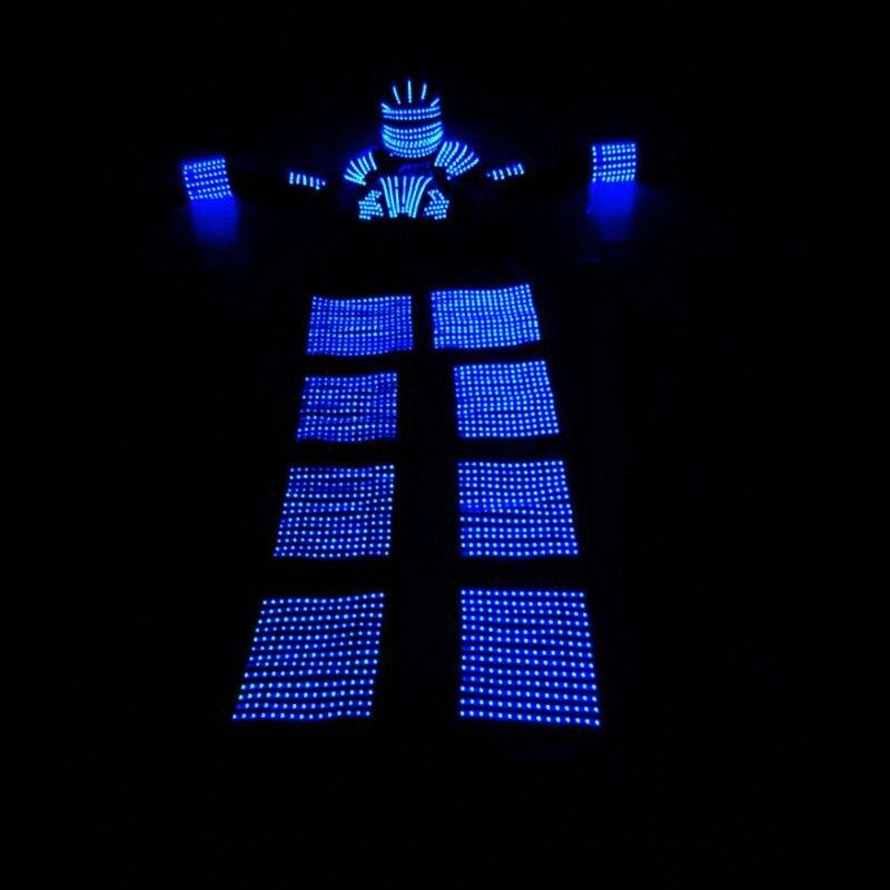 Высокое качество синий цвет led костюм LED робот Высокое костюмы с шлем для сценического шоу Производительность