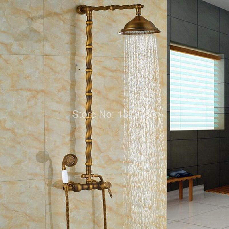 Vintage Retro Antique Brass Wall Mounted Bathroom Rain Shower Faucet Set Single Handle Mixer Tap W/ Handheld Shower Head ars054  luxury bathroom rain shower faucet set antique brass handheld shower head two ceramics lever bathtub mixer tap ars003