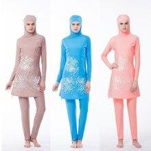 Floral Print Muslim Women Pink Swimwear Modest Swimsuit Muslimah Islamic Plus Size Bathing Suit Swim Surf Wear Sport Beach Dress