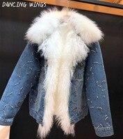 Handmade Diamonds Denim Parka Coat Winter Warm Rex Rabbit Fur Liner Short Coat Women Real Fox Fur Mongolia Sheep Fur Collar