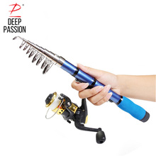 Buy online DEEP PASSION Mini Sea Fishing Rod Reel Set Pole Pesca Glass Holder for Fishing Portable Telescopic Stick Rod Kit Tackle Carp Pol