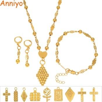 67011166078b Anniyo Rosa Cruz colgante Bola de collares de perlas pendientes pulsera  conjunto de joyas de Color oro Hawaii Micronesia Marshall Guam  164906