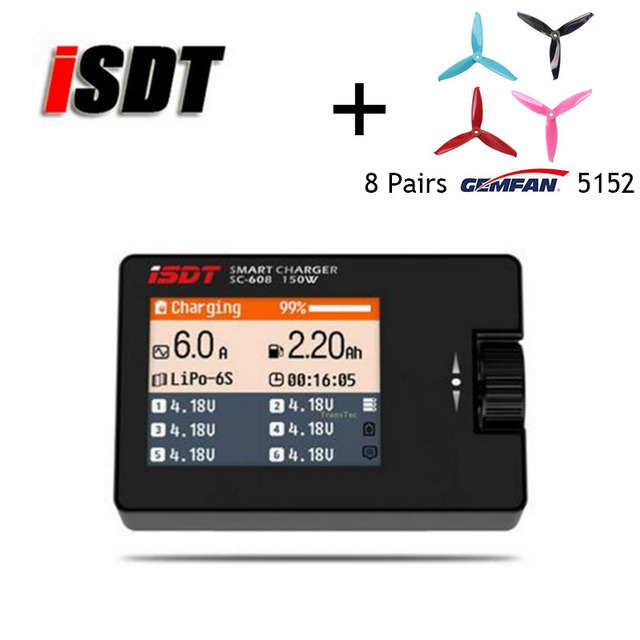 iSDT Charger SC-608 MINI Smart Balance Battery Charger Outfield Lipo Charger 150W 8A 1-6S for Mini Quadcopter 8pairs Gemfan 5152