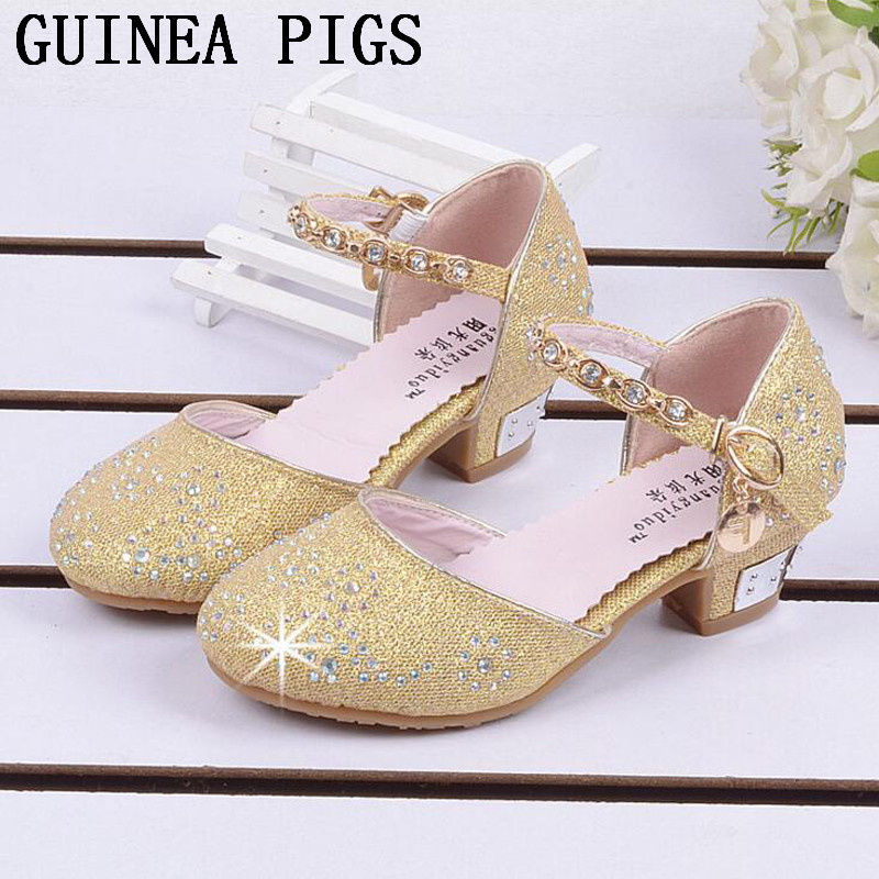 Children Princess Sandals Kids Girls Wedding Shoes High Heels Dress Shoes Party Shoes For Girls Pink Blue Gold GUINEA PIGS